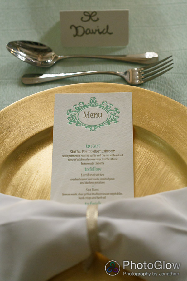 letterpress menu, gold charger plate, bow tie napkin