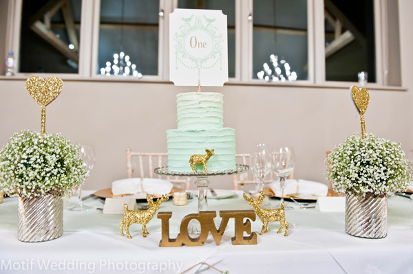 Gold Glitter Animals Wedding Table