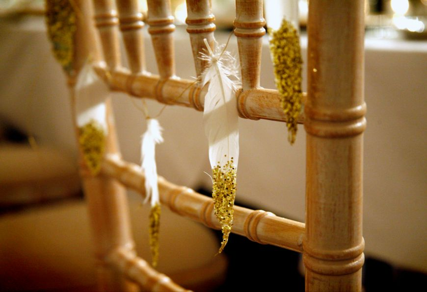 Gold Glitter Feather Garland Chair Back