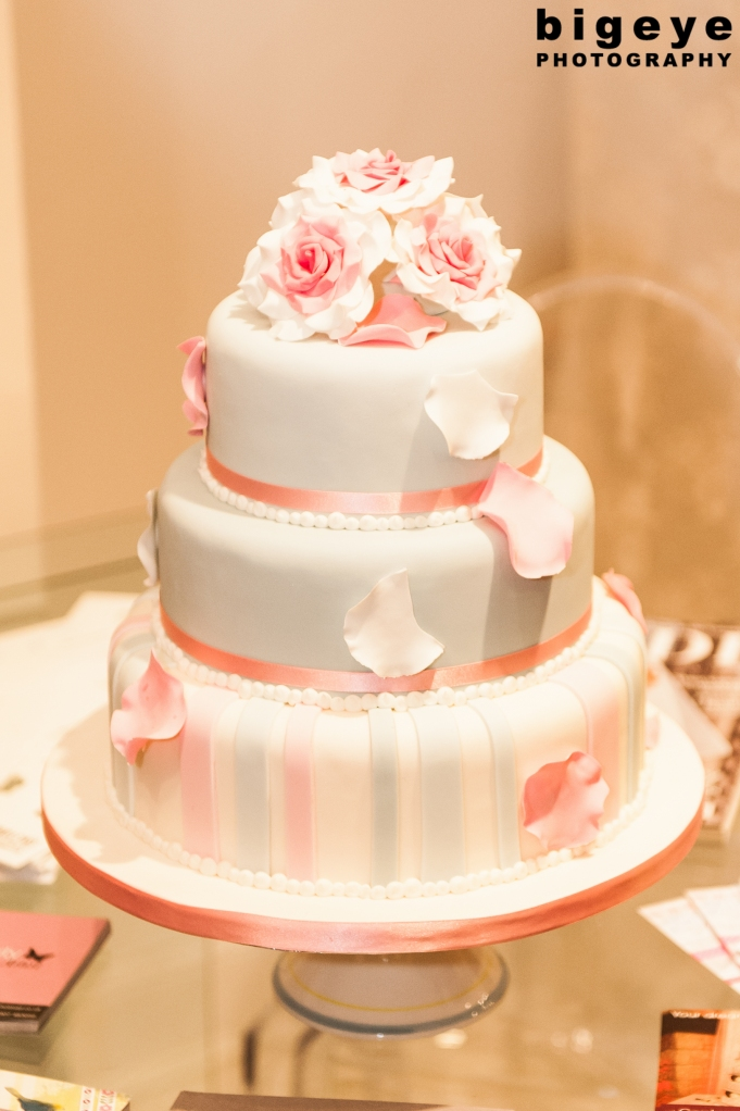 Contemporary Cake Designs Pink and Blue Petal Wedding Cake