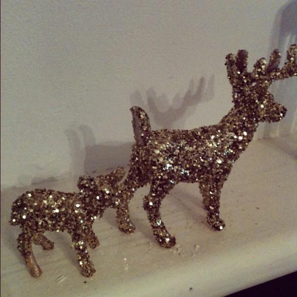 Gold Glitter Reindeer Toys