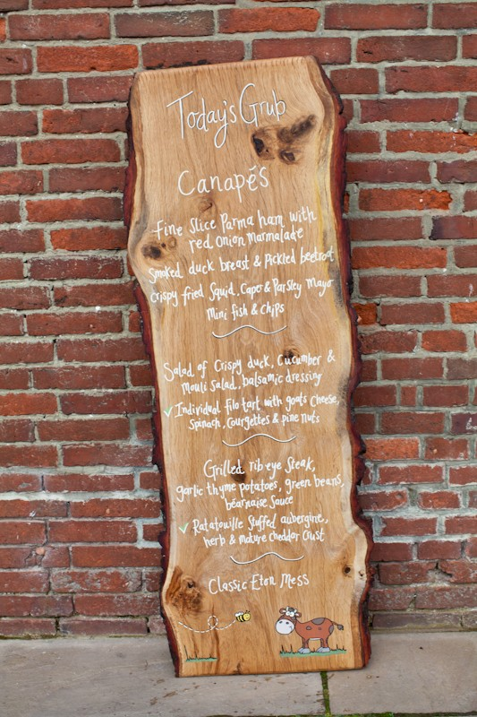 wooden wedding menu