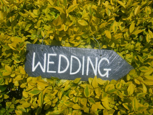 Slate wedding sign