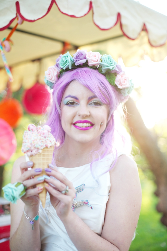 floral crown pink hair bride